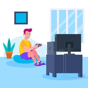 Concepto de videojuego de personajes jugando