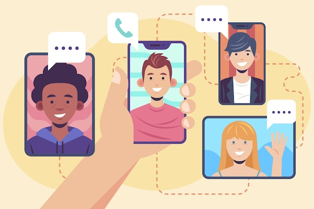 Concepto de videollamada de amigos
