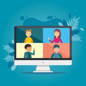 Concepto de videollamada con computadora