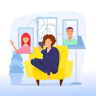 Concepto de videollamada con personas chateando