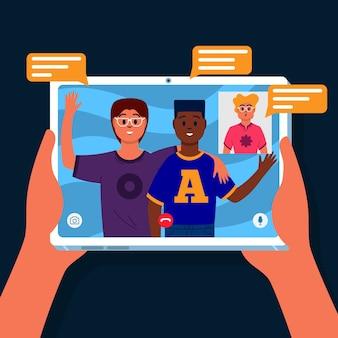 Concepto de videollamada con tableta