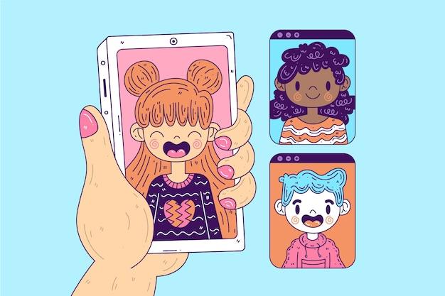 Concepto de videollamada con teléfono inteligente
