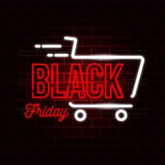 Concepto de viernes negro con diseño de neón