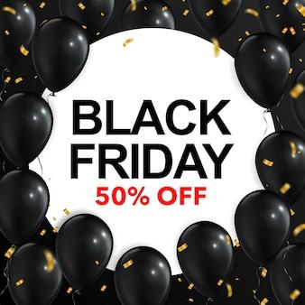 Concepto de viernes negro con globos y confeti.