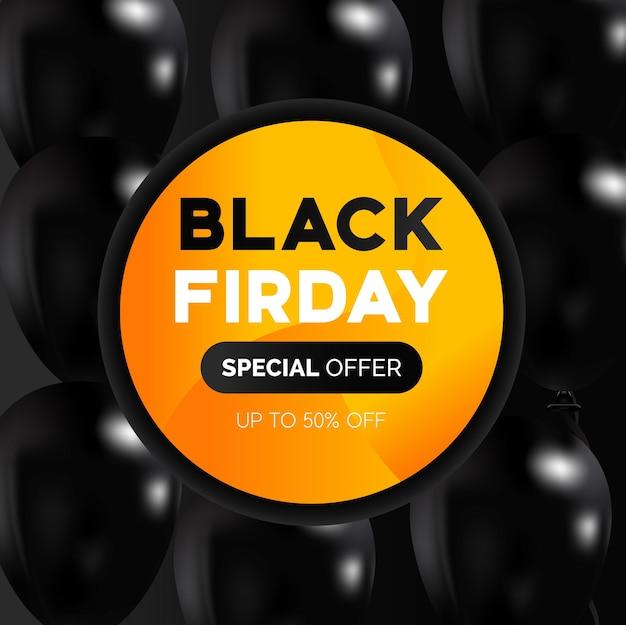 Concepto de viernes negro con globos
