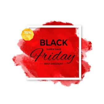 Concepto de viernes negro con mancha de acuarela