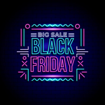 Concepto de viernes negro de neón