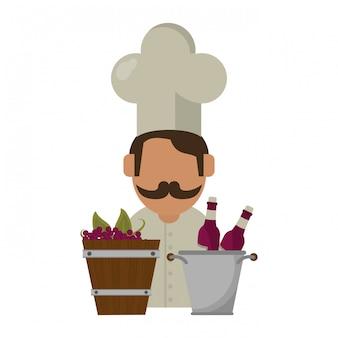 Concepto de vino y gastronomía.