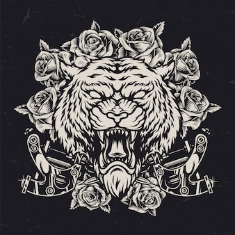 Concepto vintage de cabeza de tigre cruel