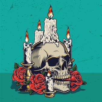 Concepto vintage colorido del día de muertos