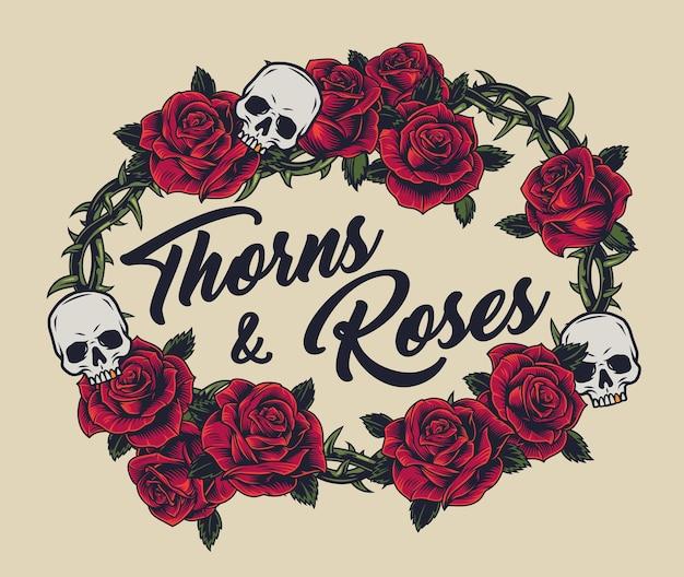 Concepto vintage de corona de alambre de púas de metal decorado con rosas rojas y calaveras sobre fondo claro aislado