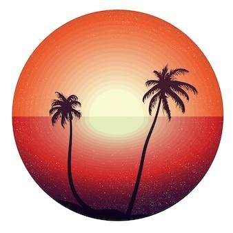 Concepto del vintage de puesta del sol en la playa tropical para la etiqueta engomada, cartel, camiseta, impresión.