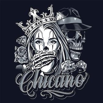 Concepto vintage de tatuaje monocromo chicano