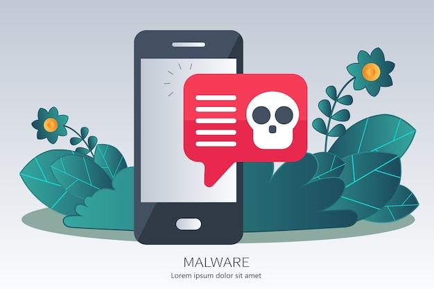 Concepto de virus, piratería, piratería y seguridad.