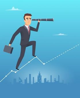 Concepto de visión empresarial. hombre de negocios masculino se encuentra en la tabla mira a través del control profesional del telescopio crecimiento corporativo