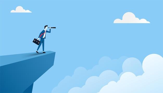 Concepto de visión empresarial. hombre de negocios en el pico de la montaña con la ilustración del telescopio.