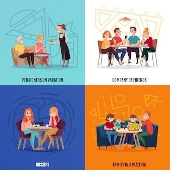 Concepto de visitantes de pub de restaurante de cuatro plazas con pensionistas en vacaciones compañía de amigos chismes y familia en una pizzería