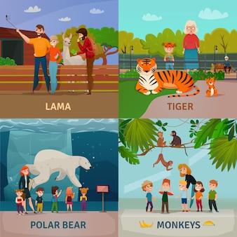Concepto de visitantes del zoológico