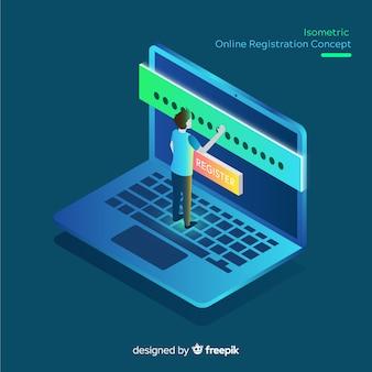 Concepto con vista isométrica de registro online