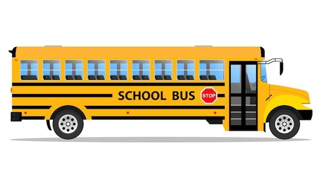 Concepto de vista lateral del autobús escolar