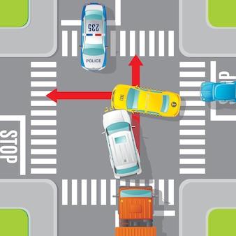 Concepto de vista superior de accidente de coche