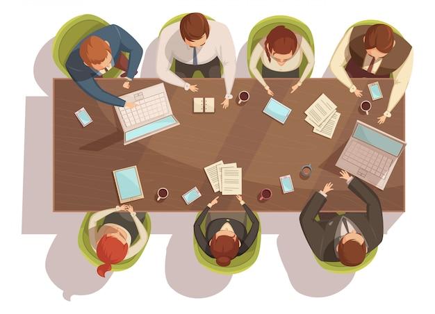 Concepto de la vista superior de la reunión de negocios con la ilustración de vector de dibujos animados portátil y café