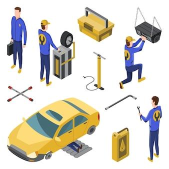 Concepto de vista superior de servicio de coche con trabajadores reparando