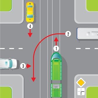 Concepto de vista superior de tráfico urbano