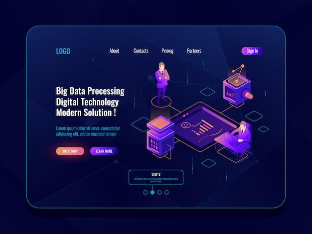 Concepto de visualización de datos banner isométrico, análisis de datos, centro de datos, neón oscuro