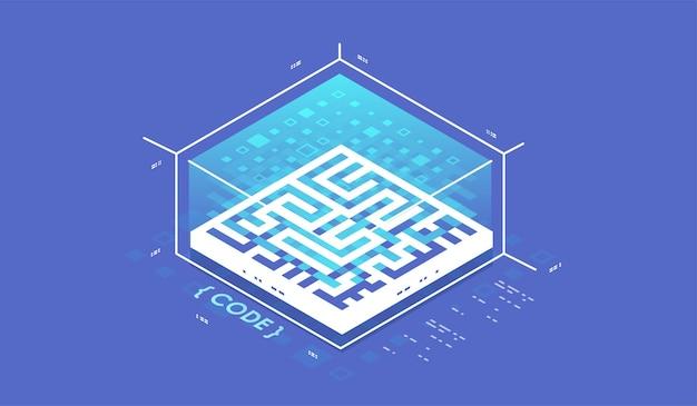 Concepto de visualización de datos. concepto de procesamiento de flujo de datos grandes, base de datos en la nube, ilustración vectorial isométrica.