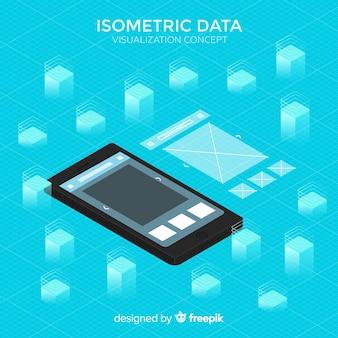 Concepto visualización de datos fondo isométrico