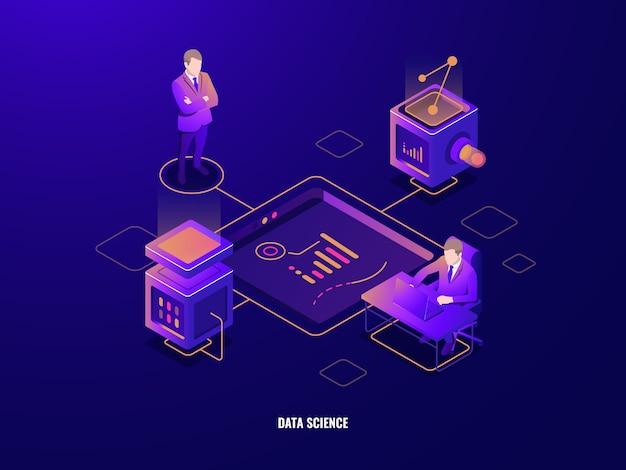 Concepto de visualización de datos, icono isométrico de personas, trabajo en equipo, corporaciones, sala de servidores