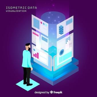 Concepto visualización de datos isométrico