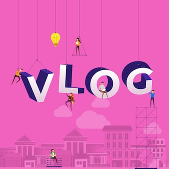 Concepto de vlog. el equipo desarrolla el video del canal en línea. ilustrar.