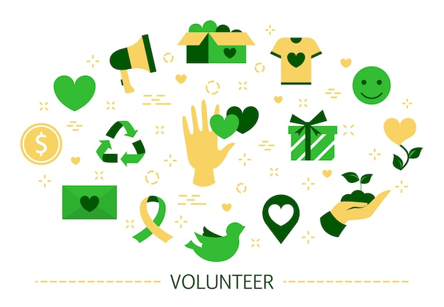 Concepto de voluntariado. idea de apoyo y caridad. servicial