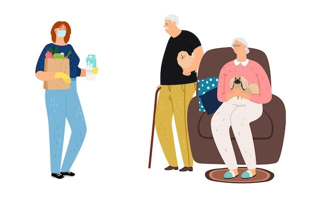 Concepto de voluntariado. pareja de ancianos reunión chica con comida. entrega a distancia, ayuda social a personas mayores. ilustración de abuelos y mujer joven
