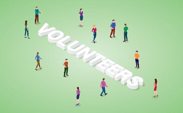 Concepto de voluntarios con varias personas y gran palabra o texto con estilo isométrico moderno
