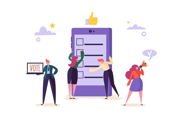 Concepto de votación electrónica con personajes que votan usando una computadora portátil a través del sistema electrónico de internet. hombre y mujer dan voto en las urnas.