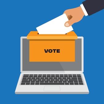 Concepto de votación en línea en un estilo plano. mano de hombre de negocios poniendo papel de votación en las urnas que salen del monitor del ordenador portátil. ilustración aislada sobre fondo blanco.
