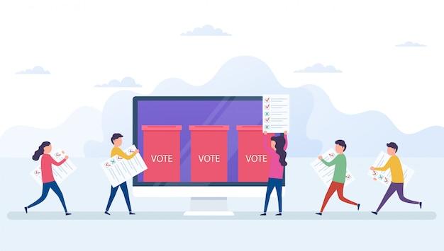 Concepto de votación en línea, sistema de votación electrónica con pantalla de ordenador.