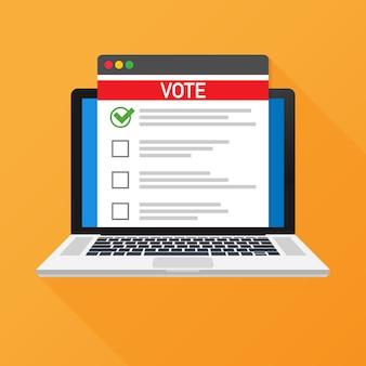 Concepto de votación en línea. votación de urnas en una pantalla de ordenador portátil.