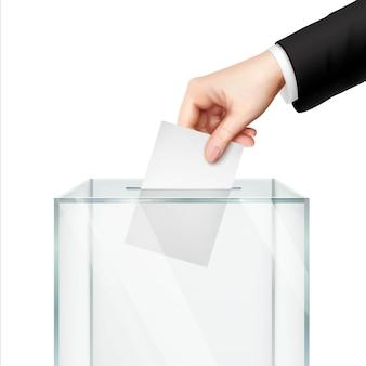 Concepto de votación realista con la mano poniendo papel de voto en la urna.