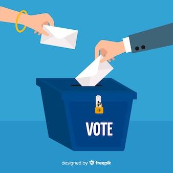 Concepto de votar y elección con caja