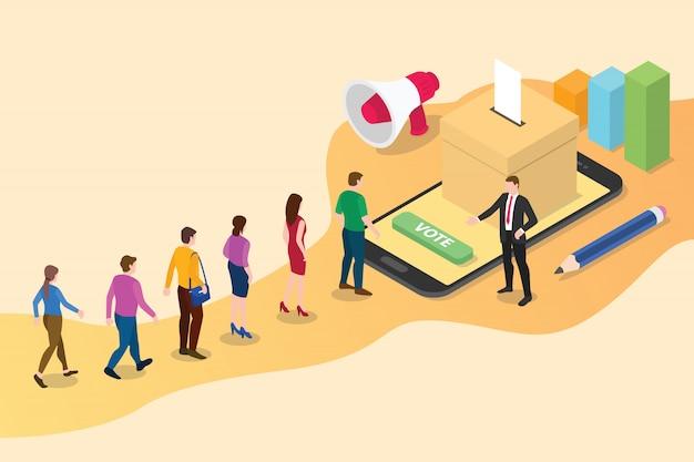 Concepto de voto en línea 3d isométrico con personas en cola para arriba