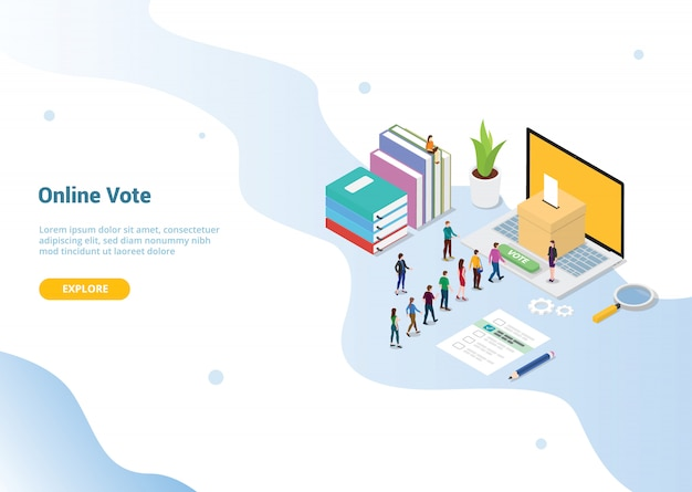 Concepto de voto para la plantilla de sitio web o la página de inicio de aterrizaje