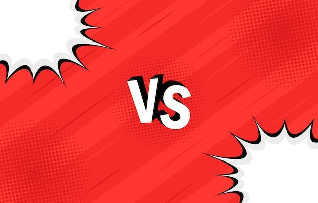 Concepto vs. versus. lucha. diseño de estilo cómic de fondo retro con semitonos, relámpagos.