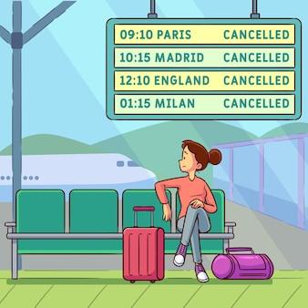 Concepto de vuelo cancelado