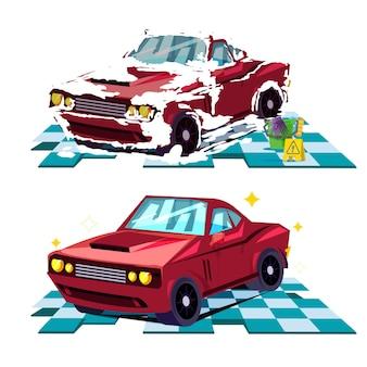 Concepto de wahing de coche. antes y después de wahing car - ilustración vectorial