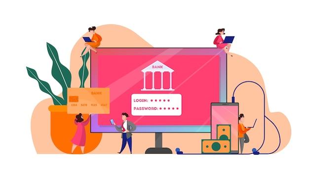 Concepto web de banca en línea. realización de operaciones financieras