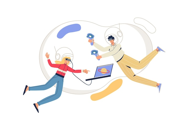 Concepto web del ciberespacio. hombre y mujer con gafas vr vuelan en realidad virtual. juegos interactivos, entrenamientos con tecnologías modernas escena mínima de personas. ilustración de vector de diseño plano para sitio web